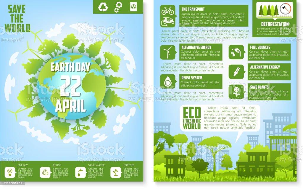 Plantilla de folleto del día de la tierra con eco verde ciudad - ilustración de arte vectorial