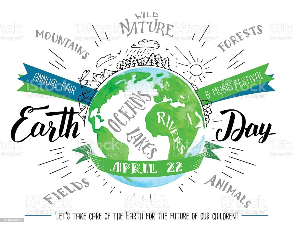 Earth day calligraphy and watercolor flyer stock vector