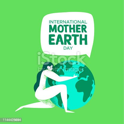 International Mother Earth Day illustration of nature woman hugging the planet for environment love concept.