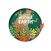 International Mother Earth Day papercut illustration. Colorful leaves inside world map cutout in recycled paper.