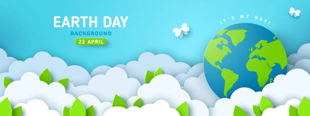 Earth Day card with globe Earth Day banner or poster with paper cut clouds in blue sky. Background with green leaves, butterfly and globe. Vector illustration. Place for text. earth day stock illustrations