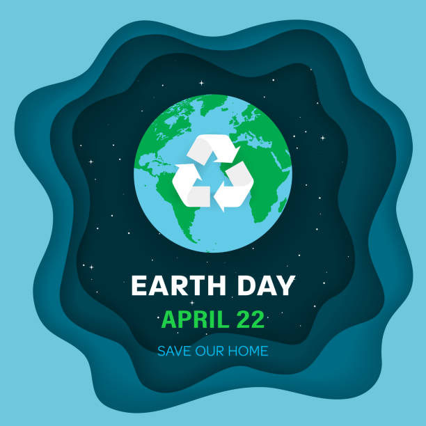 earth day concept. earth planet in space. night sky background with stars and earth globe with recycle sign. eco symbol with recycle arrows. paper and craft style with 3d effect. vector illustration. - earth day stock illustrations