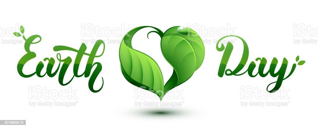 Ilustración del concepto de día de la tierra. Hoja en forma de corazón. - ilustración de arte vectorial
