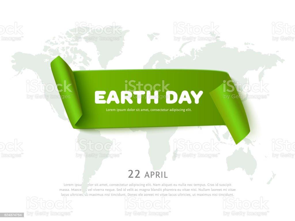Concepto de día de la tierra con Libro Verde cinta Bandera, mapa mundial - ilustración de arte vectorial