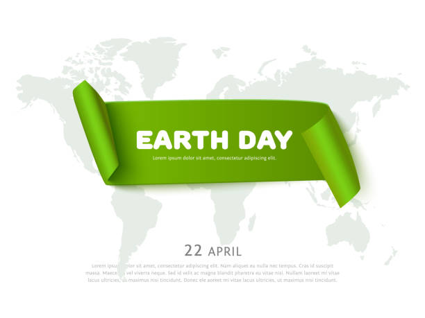 earth day concept with green paper ribbon banner, world map - earth day stock illustrations