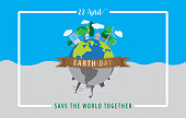 Earth day concept,22 April,The globe with brown ribbon and a white square border on blue and grey background,Vector illustration design.EPS10