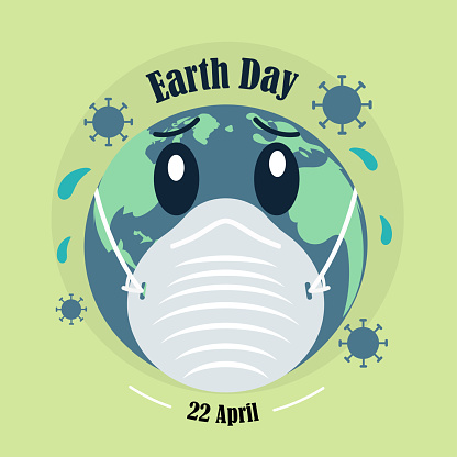 Earth Day, corona virus pandemic poster, 22 April, Earth in mask, save earth, pollution illustration vector