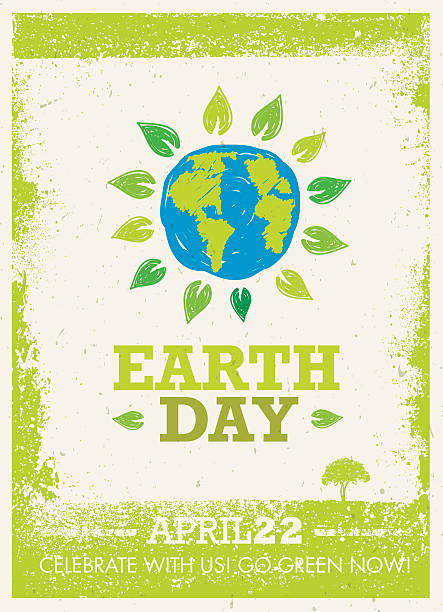 Earth Day Creative Rough Banner Concept Inspiring Creative Rough Template. Vector  Banner Design Concept On Grunge Texture Paper Background earth day stock illustrations