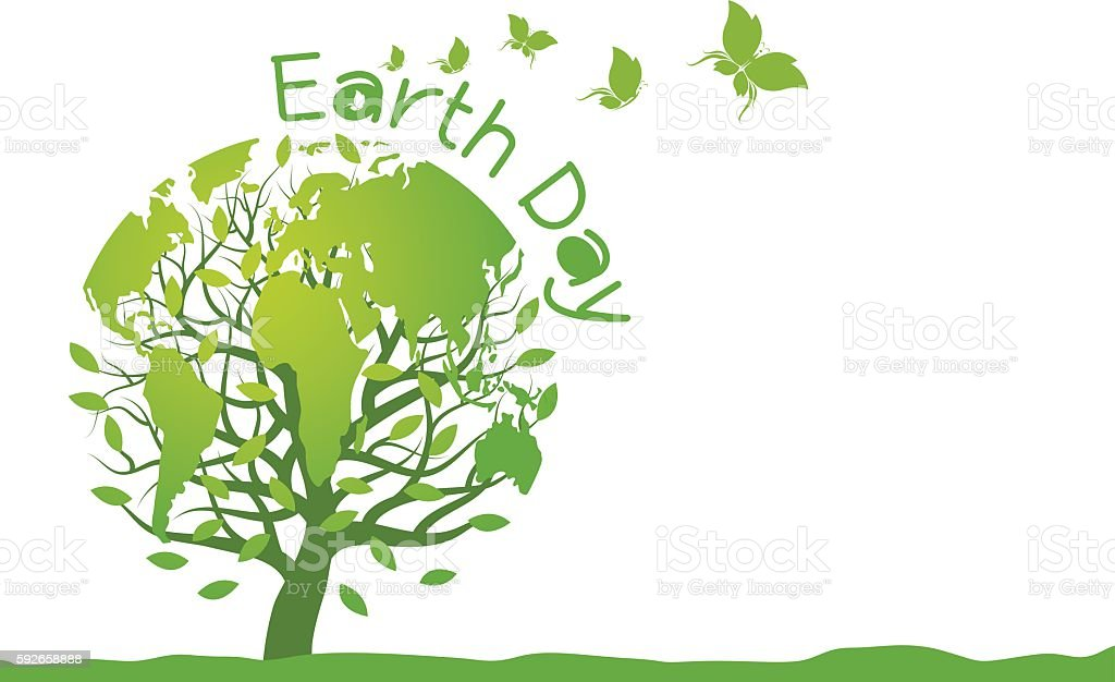 Earth day design on white background - Illustration vectorielle