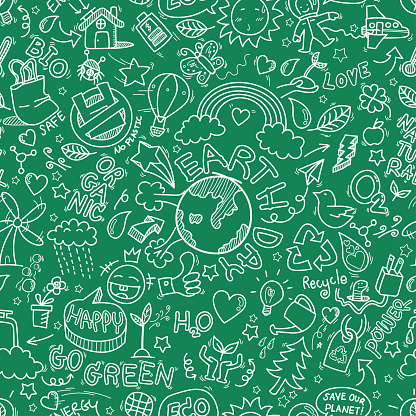 Earth day doodles seamless pattern background. hand drawn of Earth day, Ecology , go green, clean power doodle set isolated on green background, doodles sketch illustration vector