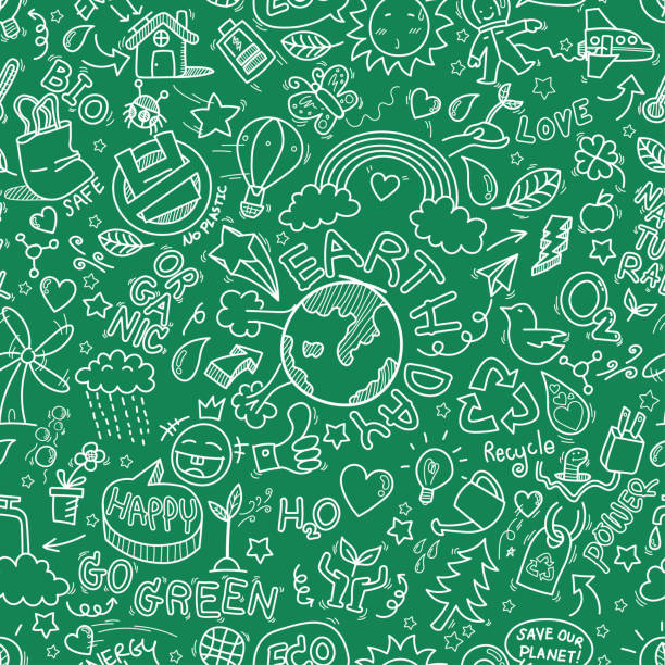 Earth day doodles seamless pattern background. hand drawn of Earth day, Ecology , go green, clean power doodle set isolated on green background, doodles sketch illustration vector Earth day doodles seamless pattern background. hand drawn of Earth day, Ecology , go green, clean power doodle set isolated on green background, doodles sketch illustration vector earth day stock illustrations
