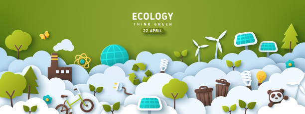 Earth Day eco banner Earth Day banner, background with clouds and ecology icons in paper cut style. Vector illustration. Light bulbs, trees, wind turbine and solar panels. Place for text. earth day stock illustrations
