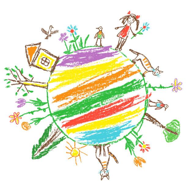 koncepcja przyjazna dla środowiska dnia ziemi. jak ręcznie rysowane przez dziecko doodle kolorowe wektorowej sztuki. - dzieło artystyczne stock illustrations