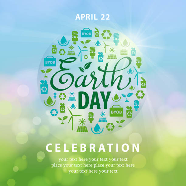 Earth Day Ecology Elements Globe Earth Day ecology symbols in the sky. earth day stock illustrations