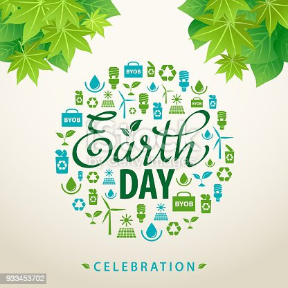 Ecology elements forming an earth shape to celebrate the Earth Day