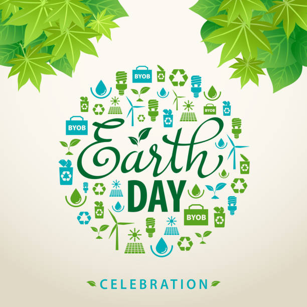earth day ecology flyer - earth day stock illustrations, clip art, cartoons, & icons