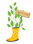 Earth day concept. Garden bed and flower pot with sign. Vector eco illustration