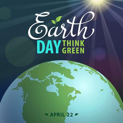 Earth Day Globe & Sunbeam