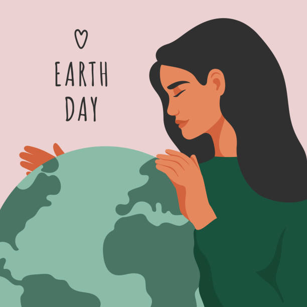illustrations, cliparts, dessins animés et icônes de carte de voeux de jour de la terre. la jeune femme embrasse la planète verte terre avec soin et amour. carte de voeux de jour de la terre. la jeune femme embrasse la planète verte terre avec soin et amour. - femme seule s'enlacer