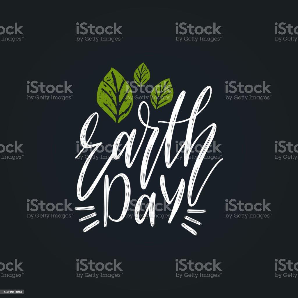 Letras de la mano del día de la tierra. Vector ilustración de la tarjeta de felicitación, cartel etcetera. - ilustración de arte vectorial