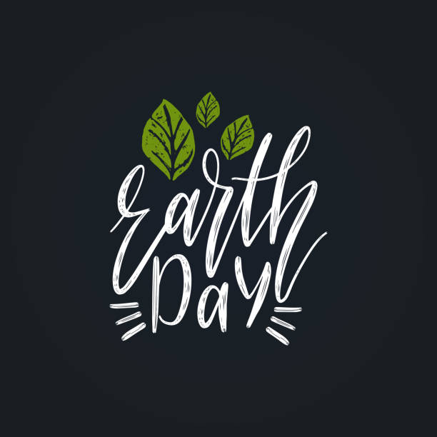 earth day hand lettering. vector illustration for greeting card, poster etc. - earth day stock illustrations, clip art, cartoons, & icons