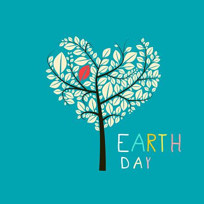 Earth Day Heart Shaped Tree Flat Design Illustration