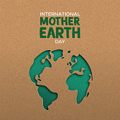 International Mother Earth Day illustration of green papercut world map. Recycled paper cutout for planet conservation awareness.