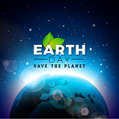 Earth Day illustration with Planet and Green Leaf. World map background on April 22 environment concept. Vector design for banner, poster or greeting card