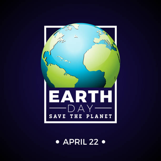Earth Day illustration with planet and lettering. World map background on april 22 environment concept. Vector design for banner, poster or greeting card. Earth Day illustration with planet and lettering. World map background on april 22 environment concept. Vector design for banner, poster or greeting card earth day stock illustrations