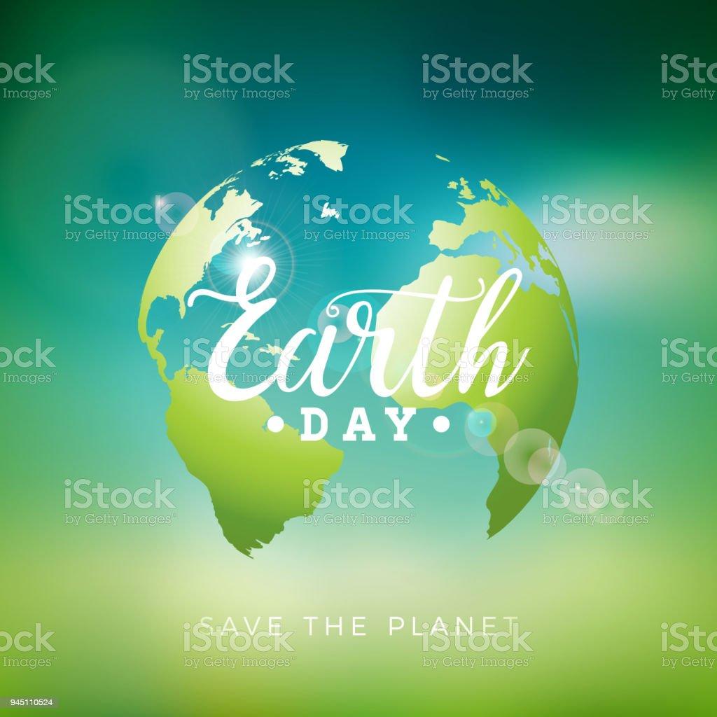 Ilustración del día de la tierra con el planeta y el deletreado. Mapa del mundo fondo abril 22 concepto de medio ambiente. Diseño vectorial para la pancarta, un cartel o tarjeta de felicitación. - ilustración de arte vectorial