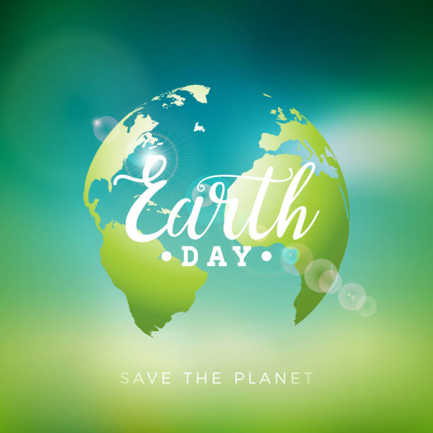 earth day illustration with planet and lettering. world map background on april 22 environment concept. vector design for banner, poster or greeting card. - earth day stock illustrations