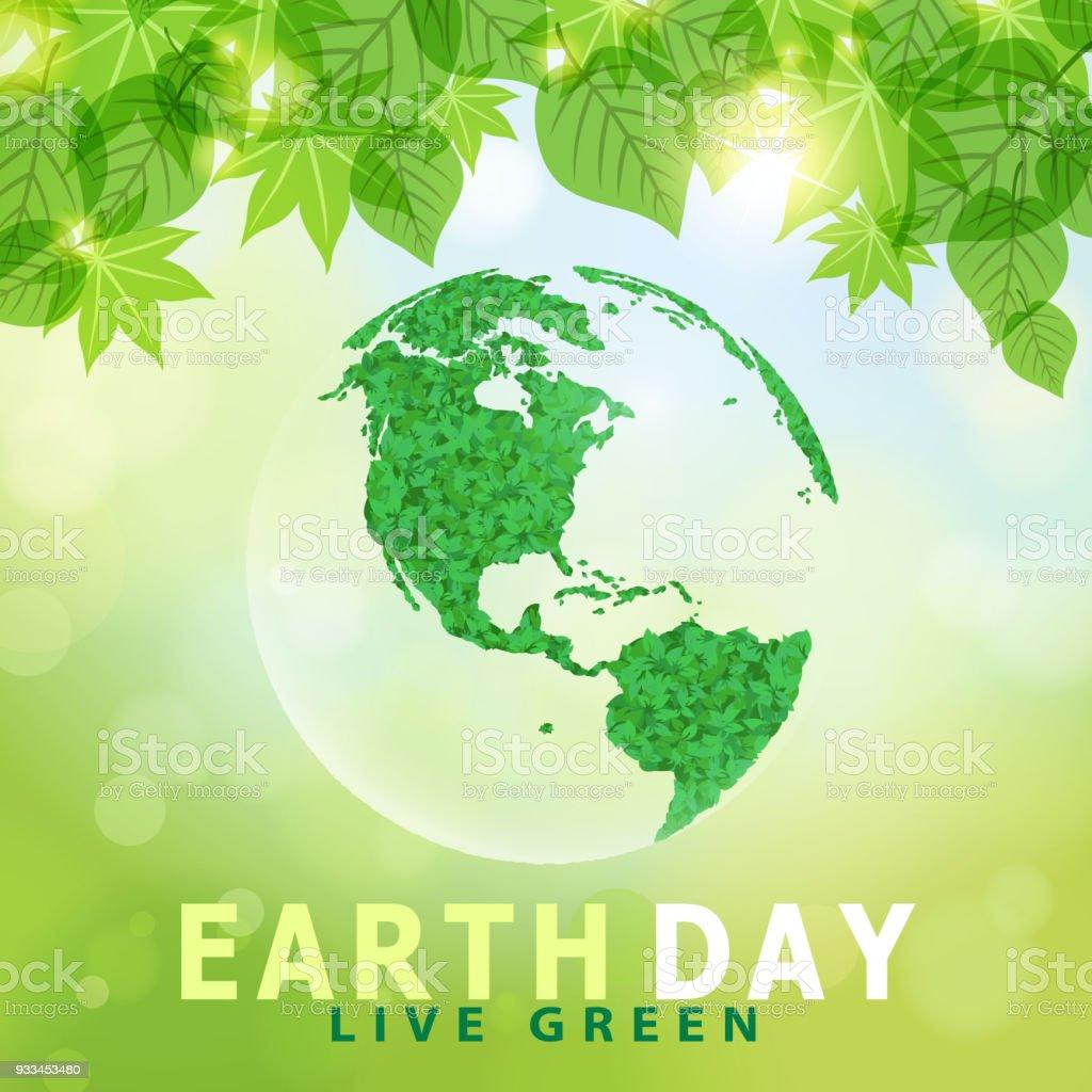 Tierra día vivir verde - ilustración de arte vectorial