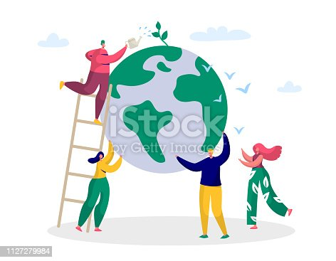 istock Earth Day Man Save Green Planet Environment. People of World Water Plant for Ecology Celebration Preparation in April. Nature Globe Ecology Protect Concept Flat Cartoon Vector Illustration 1127279984