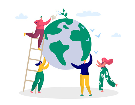 Earth Day Man Save Green Planet Environment. People of World Water Plant for Ecology Celebration Preparation in April. Nature Globe Ecology Protect Concept Flat Cartoon Vector Illustration clipart