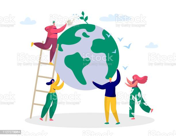 Earth Day Man Save Green Planet Environment People Of World Water Plant For Ecology Celebration Preparation In April Nature Globe Ecology Protect Concept Flat Cartoon Vector Illustration - Arte vetorial de stock e mais imagens de Abril