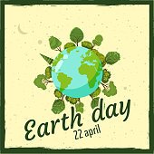 Earth day, planets in a background of space, trees and homes, vector, cartoon style, illustration