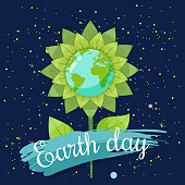 Earth day, planets earth in a stylized flower against a background of space, vector, cartoon style, illustration