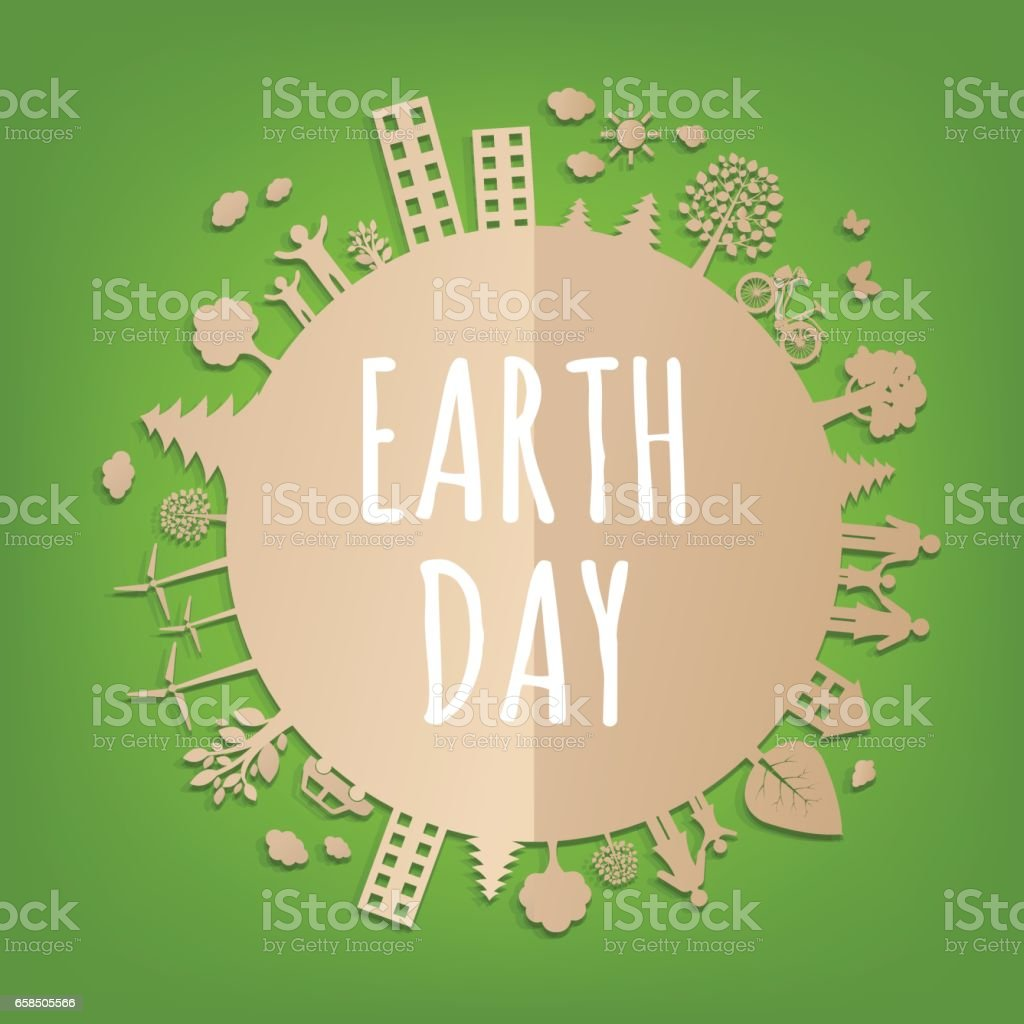 Earth Day carte postale - Illustration vectorielle