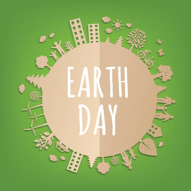 earth day postcard - earth day stock illustrations, clip art, cartoons, & icons