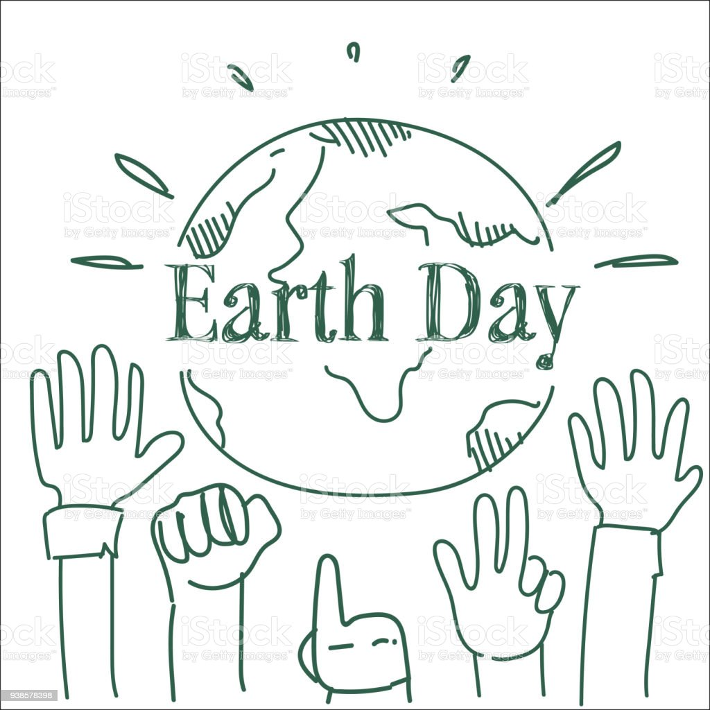 Earth day poster design with hands raised to planet happy holiday earth day poster design with hands raised to planet happy holiday sketch greeting card royalty m4hsunfo