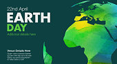 Water colour texture map on Earth day poster