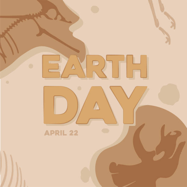 earth day poster - fossilized leaves stock illustrations