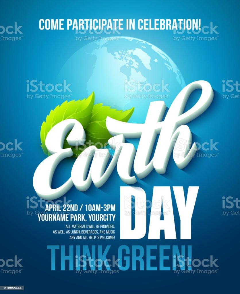 Póster día de la tierra. Ilustración de vectores con el día de la tierra rotulación - ilustración de arte vectorial