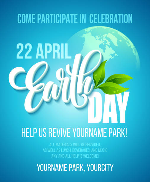 earth day poster. vector illustration with the earth day lettering - earth day stock illustrations