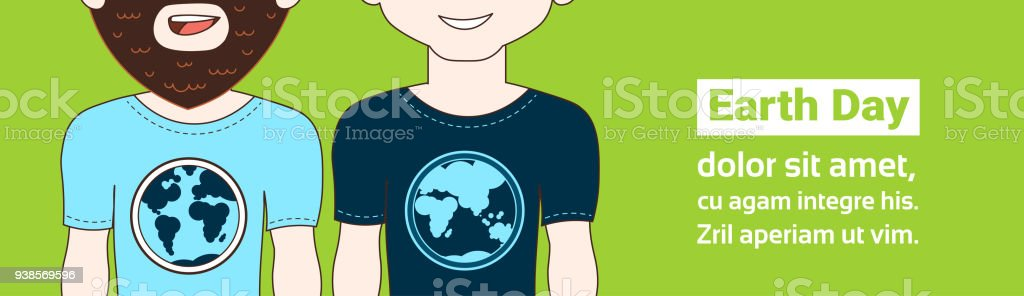 Earth day poster with closeup of two hipster man wearing tshirts earth day poster with closeup of two hipster man wearing t shirts with globe image gumiabroncs Images