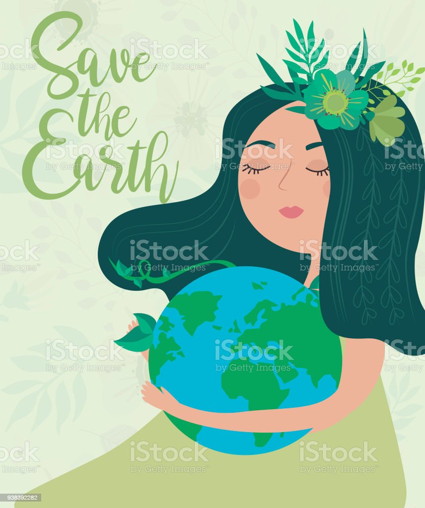 Earth Day Poster With Planet And Girl World Environment ...