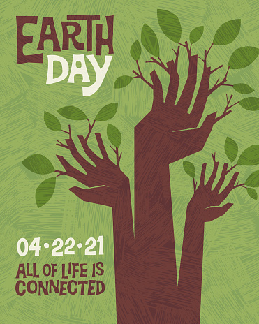 Earth Day retro design of raised hands sprouting branches and leaves.