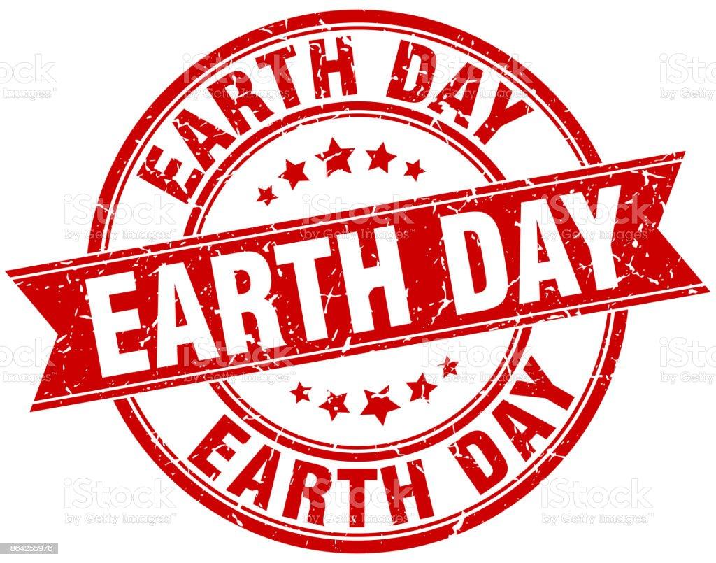 earth day round grunge ribbon stamp vector art illustration