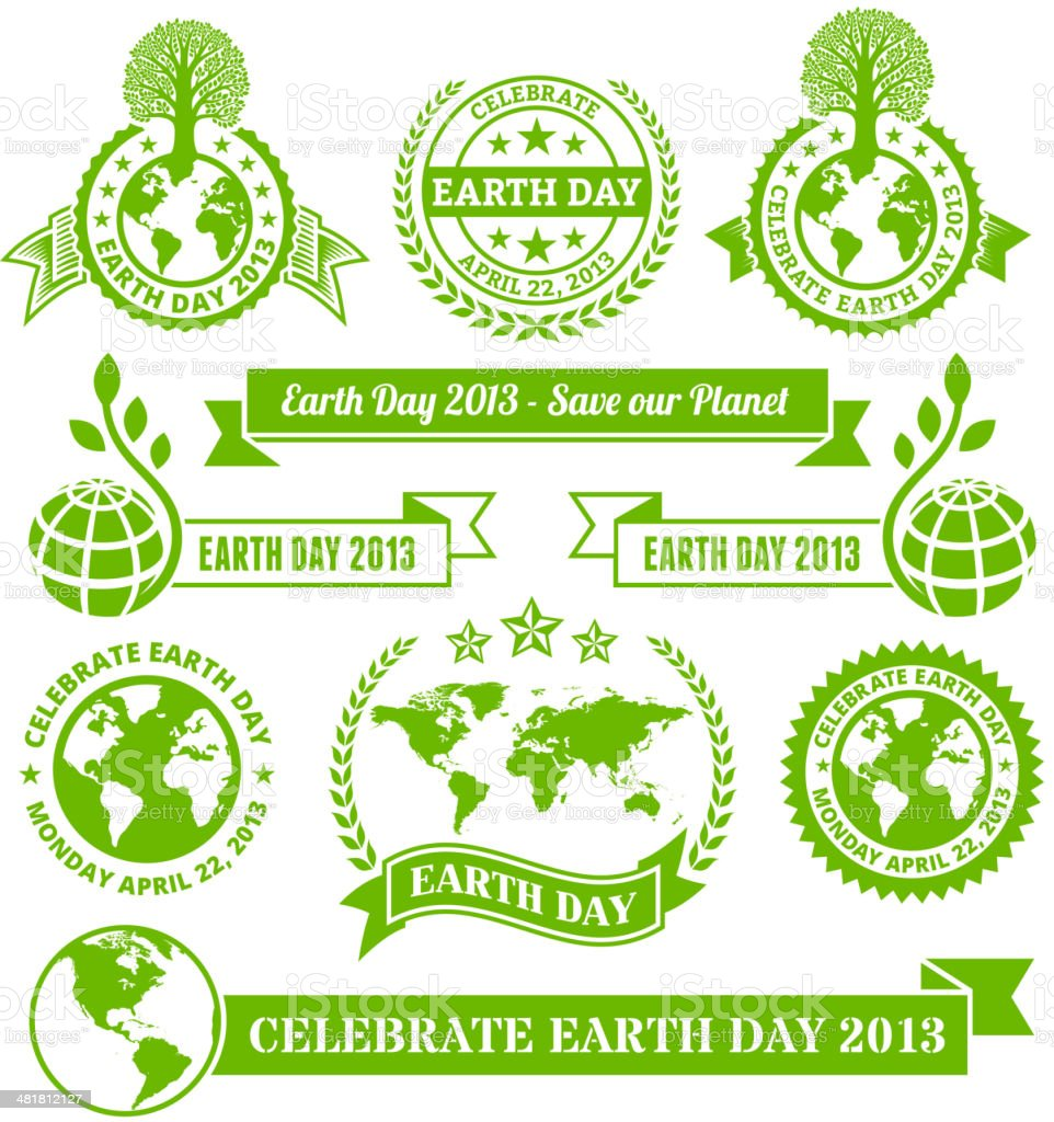 Earth Day Royalty Free Vector Banners Buttons And Symbols Stock