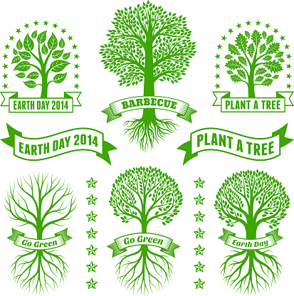 Earth Day royalty free vector Green Tree Banners & Badges